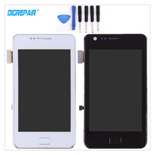 Black/White For Samsung Galaxy S2 I9100 LCD Display Digitizer Touch Screen Panel Assembly Replacement+Frame+Tools, Free shipping(China)
