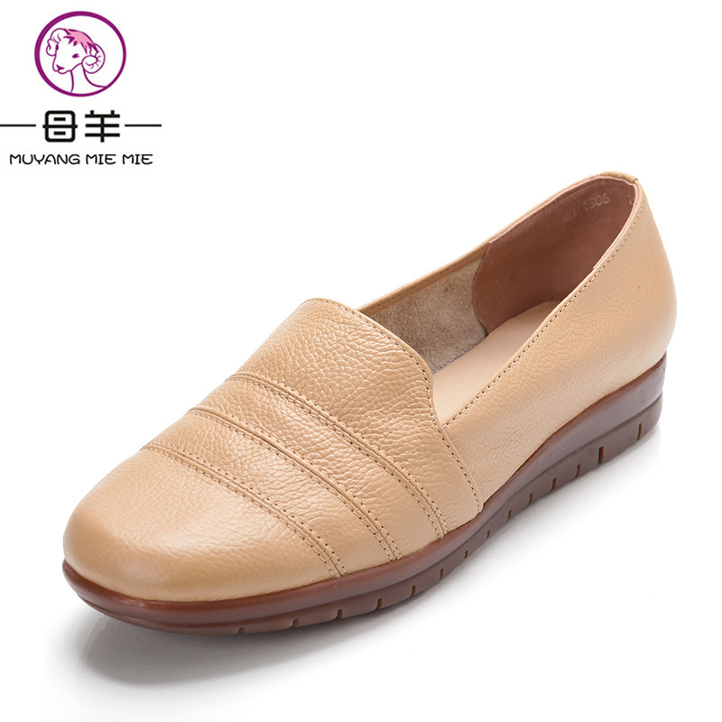 MUYANG MIE MIE Plus size(35-42) women genuine leather flat shoes woman work shoes fashion female casual single shoes women flats<br>