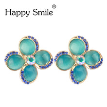 2017 Early Summer Brand Design Four Leaf Clover Pendientes Jewelry Cat's Eye Opal With Crystal Flowers Clip Earrings