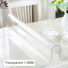 Lanskaya Ru Stock Modern Pvc Transparent Kitchen Table Cover Waterproof Oil Cloth Soft Glass Tablecloth 1.0 Mm Ship By Roll(China)