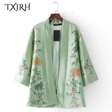 TXJRH Vintage Ethnic Kimono Cardigan Blouse Floral Pattern Embroidery Pockets Loose Shirt 3/4 Sleeve Fashion Women Cape Tops New