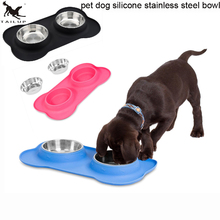 [TAILUP] Stainless Steel Pet Dog Bowl With No Spill Non-Skid Silicone Mat Pet Dog Feeder Bowl Tool Cat Bowl PP024(China)