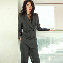 VERRAGEE Brand tailored suit 2017 New Autumn Winter Women double-breasted Pure colour Woolen Sets(China)