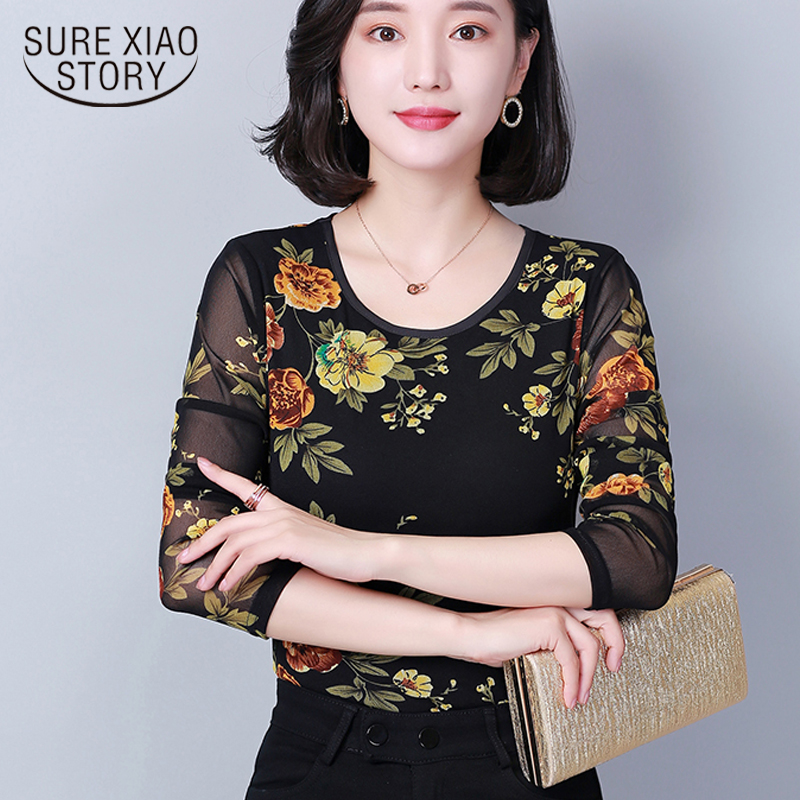 new long sleeved shirt autumn and winter fashion woman blouses 2019 printed patchwork loose women's tops clothes blusas 1072 40(China)