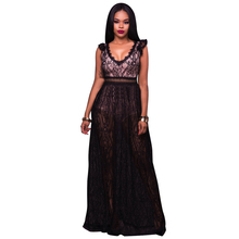 YJSFG HOUSE Elegant Women V-neck Backless Lace Evening Party Dresses Sexy Ladies Hollow Out Long Maxi Dress With Shorts Black