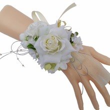1pcs Handcrafted Wrist Corsage Bracelet Artificial Silk Rose Flowers For Wedding Hand Flower Bouquet For Bride Event Supplies