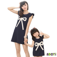 Mom and Daughter Dresses 2015 New Family Set Clothes for Mother and Daughter Big Bow Decoration Knitted Sleeveless Summer Dress