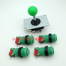 New Arcade Stick + 4 x Arcade Games Happ Style Arcade Button With Build - in Microswitch For PC Controller Computer Game - Green(China)