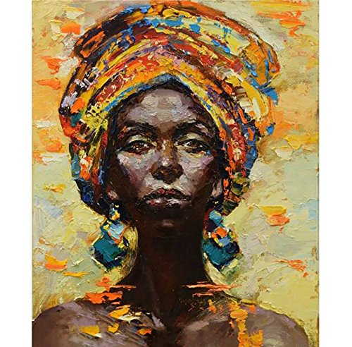Handmade Modern Abstract African woman portrait knife canvas oil painting wall Decorative hand painting Sexy lady pictures 34343