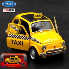 1pc 1:36 10.5cm delicacy WELLY Fiat 500 classic taxi car pull back alloy model home collection decoration boy toy gift(China)