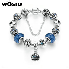 Hot Sale Silver Charm Bracelet For Women Blue Fascinating Beads Fit Original Bracelet DIY Jewelry Pulseras Gift XCH1494(China)