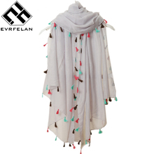 Beach Fashion 2017 New Spring Summer Pure Color Voile Scarf Women Tassel Scarf Wrap Shawl and Scarf For Women cachecol feminino(China)