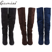 Gamiss Women Boots Winter Autumn Fashion Flat Bottom Snow Boots Shoes Over The Knee High Leg Suede Long Boots Brand Designer