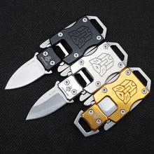 Transformers Camping Tactical Survival Folding Pocket knife outdoor EDC tools key buckle carry portable lanyard folding knife