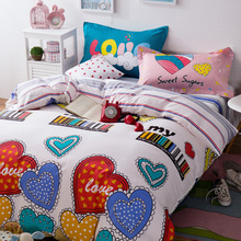 colorful heart pattern girl bedclothes Cotton single/twin/queen/double size Bedding sets 4pcs Duvet cover pillowcase bed sheet