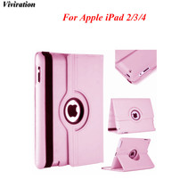 Viviration Good Use PU Smart Stand Flip Case Cover Protective 360 Degree Rotating Tablet PC Cover Case For Apple iPad 2/3/4 Case(China)