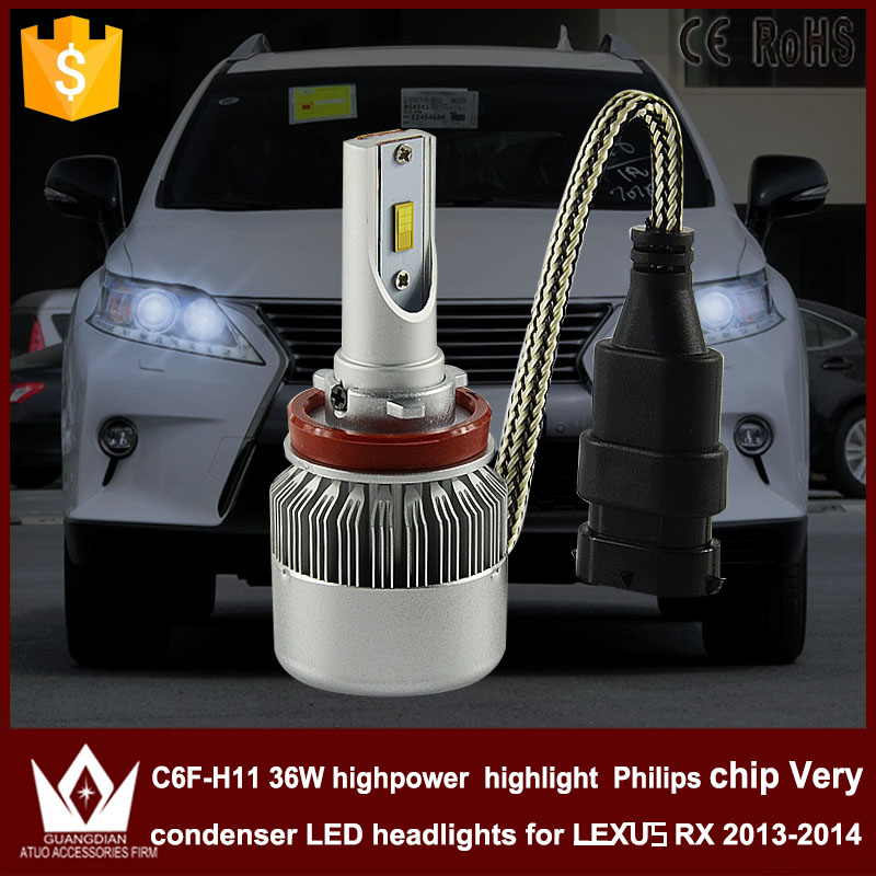 Guang Dian car led light h11 Headlight Head lamp low beam Dipped beam h11 C6F 6000K white 12V 36W  for lexus RX 2013~2014 only<br><br>Aliexpress