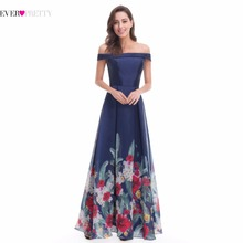 Gorgeous Off-the-Shoulder Printed Prom Gown Ever Pretty EP07046 Long Sleeves Flower Satin Chiffon Dress 2017 Women New Arrival