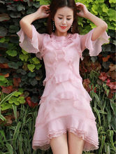 New Arrival 2017 Queen Pink Dream Lotus Leaf Ruffle Hem Flare Sleeve Dress Sweet One-piece Dress