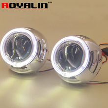 3.0 inch Metal HID Bi-xenon Projector Lenses with 95mm White LED Angel Eyes Halo Ring DRL for Auto Headlights H1 lamp H4 H7 Cars