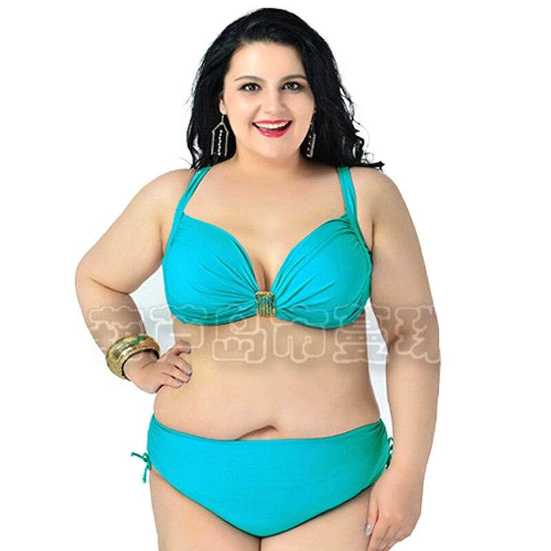 Large Size Ladies Bikini Set Solid Push Up Bikini Swimsuits Triangle Brazilian Biquini Bathing Suits With Padding Biquinis DA765<br><br>Aliexpress