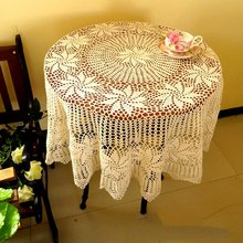 Handmade Crochet Tablecloth Wedding Table Cloth  Round Table Cloth Cotton Tablecloths for wedding, 125CM Round Free Shipping