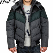 AYUNSUE Plus Size White Duck Down Coats Winter Male Jackets Short Warm Striped Coat Men's Down Jacket Casaco Masculino WXF147