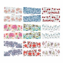 WUF 1 Sheet Chic Flower Owl Designs Water Transfer Nail Sticker Flower Decals DIY Art Decoration Fingernail