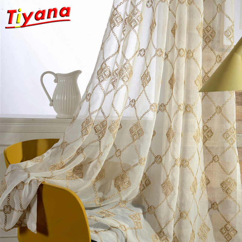 Linen Curtains Geometric Window Screen Sheer Curtain for Bedroom Cotton Linen Tulle Curtains Set for the Living Room wp044 *30