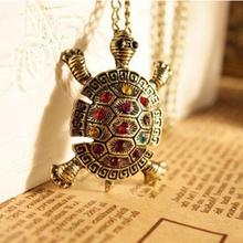 New Fashion Women Tortoise Necklace Vintage Rhinestone Long Chain Necklace Pendant Jewelery With Colorful Crystal