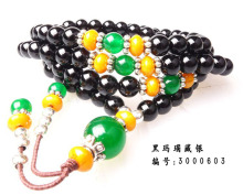 Shipping Black Agate Bracelet beads 108 silver bracelets jewelry safety to help transport 3000603
