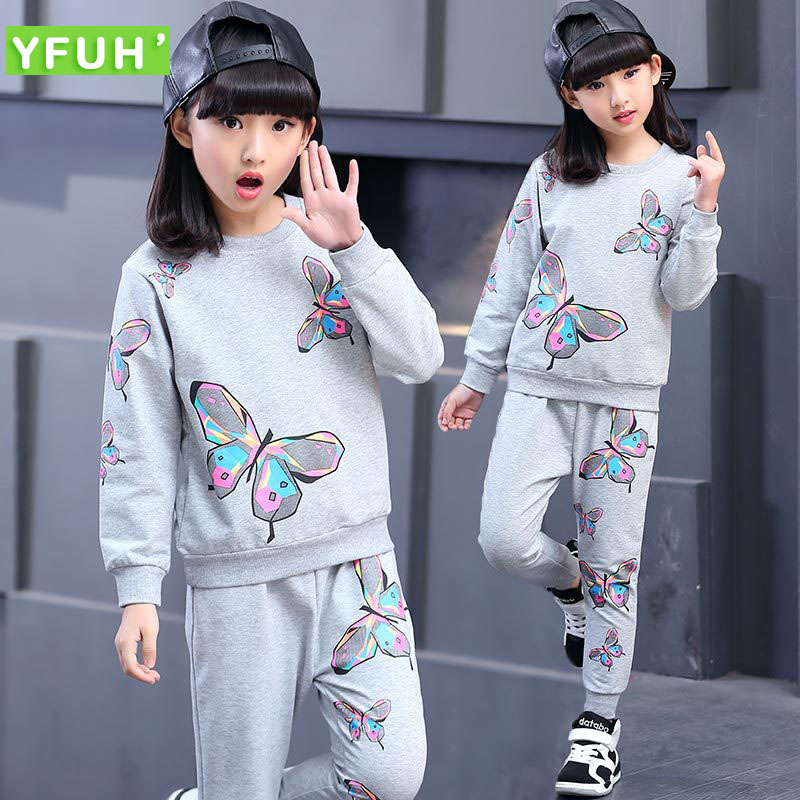 Baby Girls Sets Cotton Spring Autumn Fashion butterfly Print Sports 2 Pieces Gray Long Sleeve Suits Girls Clothes Sport Suit(China (Mainland))