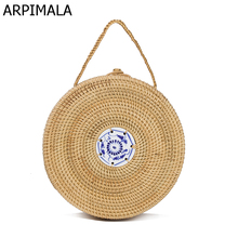 ARPIMALA Mini Circle Straw Bags Handmade High Quality Beach Handbags for Women Summer Travel Rattan Tote Knitted Hand Bag(China)