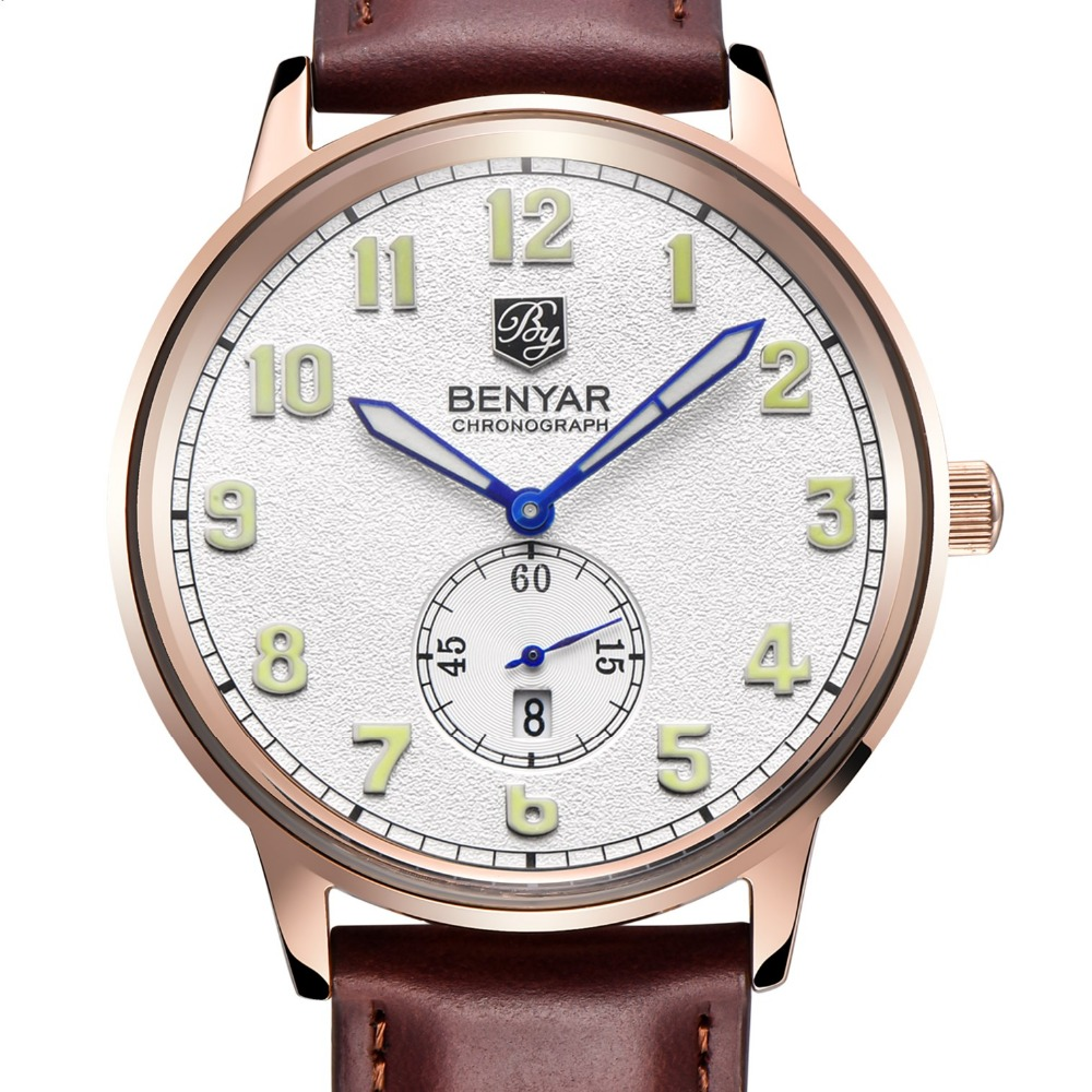 2016 Casual Watches Men Brand BENYAR Luxury Quartz Watch Fashion Business Male Female Watch Women Dress Quartz-Watch gold white<br>