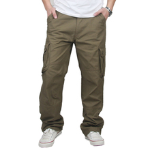 2017 New Arrival Cargo Mens Casual Pants Cotton Loose Multi Bag Large Size Uniform Workwear Military Trousers Khaki
