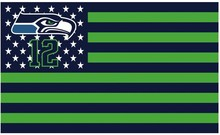 Seattle Seahawks Star and Stripes Green and Black Patchwork Color Flags Banner With White Sleeve Flag 3FTx5FT(China)