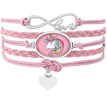 Unicorn Horse Animal Heart Infinity Love 18*25mm Dome Cabochon Charm Leather Bracelets Women Men Girl Boy Jewelry Silver Gift(China)