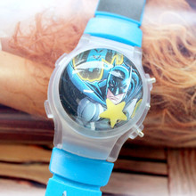 Wholesale 100pcs/lot Cute Batman Boy's Wristwatch Cartoon Watch With Flashing Light Silicone Children LED Watches With Calendar