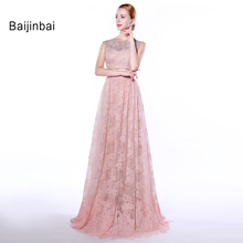 Baijinbai Fashion Vintage Women Floor Length A Line Bridesmaid Dresses 2017 Zipper Back Tank Lace Bridal Party Dress Custom 559(China)