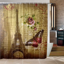 Waterproof Paris Eiffel Tower Bathroom Fabric Shower Bath Hooks Shower Curtain