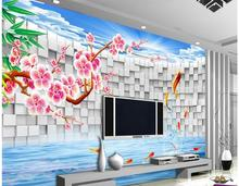 3d wallpaper for room Carp jump dragon door 3D fresco backdrop wall custom 3d wallpaper living style wallpaper