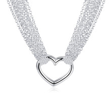 Top Quality 925 Silver Multi Lines Heart Necklace for Women Fashion Silver Collar Jewelry Factory Price Silver Bijoux(China)