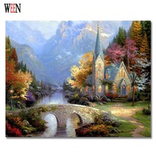 WEEN Castle Bridge Painting By Numbers DIY Handpainted oil Wall Pictures For Home Art Decor On Canvas Poster Coloring by Number(China)