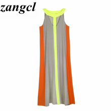 Zangcl summer dress sleeveless stitching maxi dress  casual stitching sleeveless dress sexy party dresses