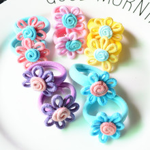 Free Shipping 10 Pcs (5 Pairs) Cloth Fabric Flower Mini Smal Girls'l Hair Ropes Kids Hair ties Ponytail Holder Kids Accessories(China)