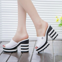 2017 new sandals women genuine leather sandals thick heel slippers woman platform wedges summer shoes pumps woman flip flops W03
