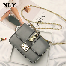 2017 Fashion Ladies Womer Leather Handbag Shoulder Crossbody Messenger Bag Mini Lock Stud Pyramid Rivet Chain Strap Bag