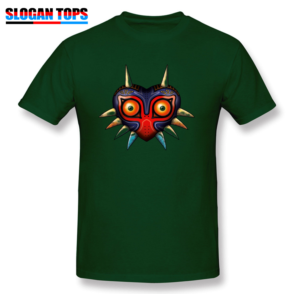 Hip hop Majoras Mask Zelda 17572 Male Tshirts 2018 Popular Summer Fall Short Sleeve Tops Shirts Crewneck 100% Cotton T-Shirt Majoras Mask Zelda 17572 dark