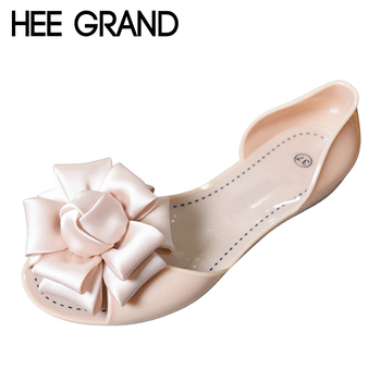 HEE GRAND Summer Jelly Shoes Woman Beach Flowers Jelly Sandals 2017 Slip On Casual Flats Women Shoes Slippers Flip Flops XWZ3470