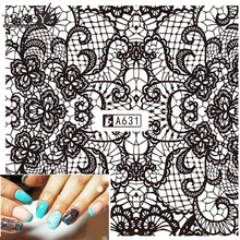 Tracy Simple Nail 1X New Black Full Lace Sexy Design Nail Art Water Transfer Decals Manicure of Temporary Tattoos Sticker TRA631